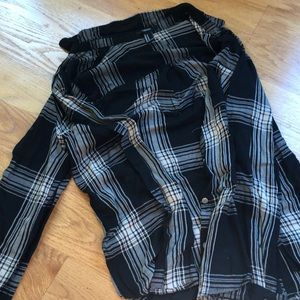 Black and beige plaid button up shirt